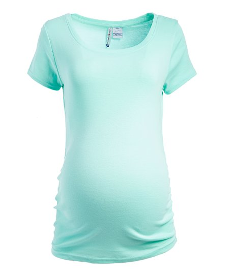 fe389c52778fe love this product Seafoam Mint Side-Ruched Maternity Scoop Neck Tee