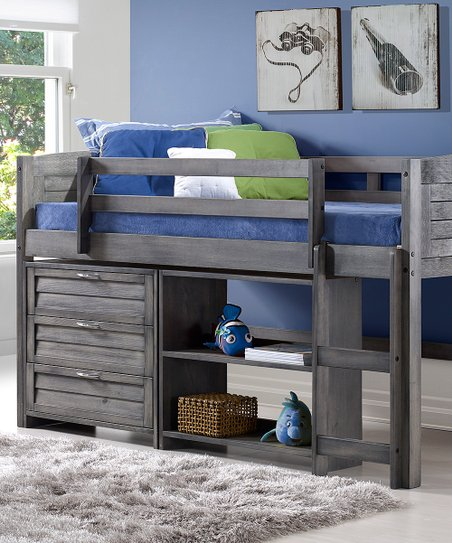Donco Kids Gray Louver Twin Low Loft Bed Chest Set Zulily