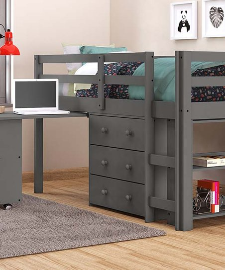Donco Kids Dark Gray Twin Low Loft Bed Desk Set Zulily