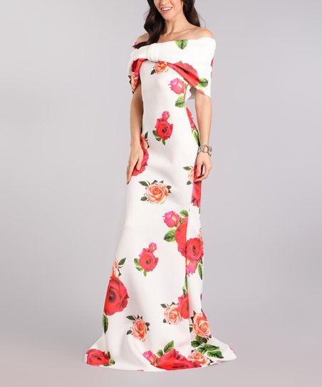 14c8f7f03cde love this product Red   White Floral Off-Shoulder Maxi Dress - Plus Too