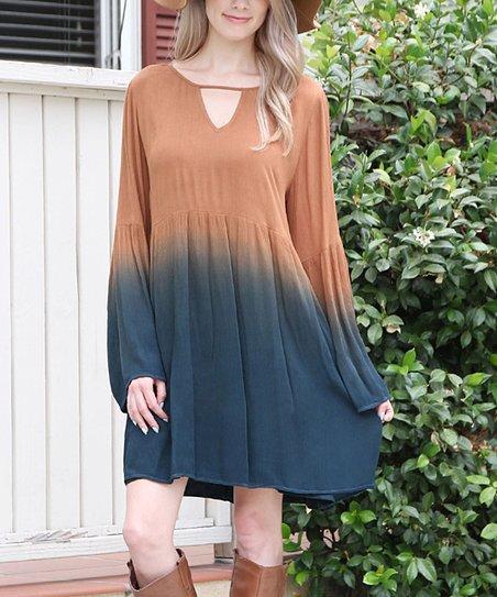 916367331c1 Riah Fashion Mocha & Teal Ombré Bell-Sleeve Tunic Dress | Zulily