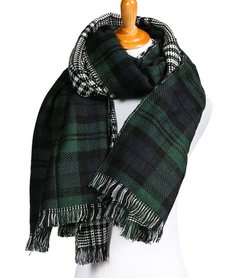 f44654a3fb63d CoziBear Boutique Blue Plaid Double-Sided Blanket Scarf | Zulily