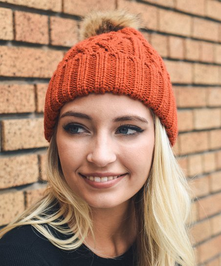 love this product Rust Cable-Knit Faux Fur Pom-Pom Beanie - Women b12cfb0b3b2
