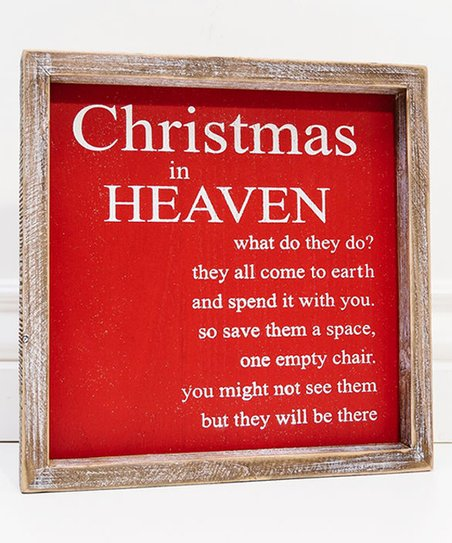 Christmas In Heaven What Do They Do.Adams Co Red White Christmas In Heaven Framed Wood Sign