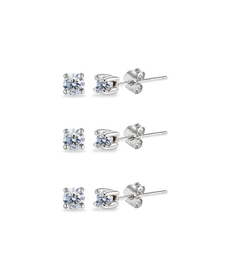 Love This Product Sterling Silver Stud Earrings Set With Swarovski Crystals