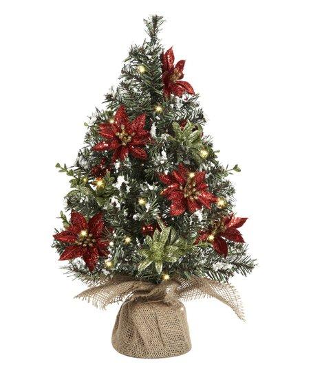 Ganz Light Up Poinsettia Evergreen Tree Decor