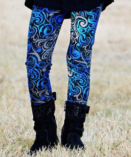 61e5712a4a598 Mayah Kay Fashion Boutique Blue & Gray Moonlight Leggings - Girls ...