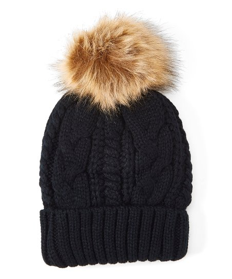 love this product Black Cable-Knit Faux-Fur Pom-Pom Beanie 94e68445a2c