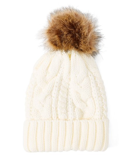 1a36cdf8aba9d5 love this product Cream Cable-Knit Faux-Fur Pom-Pom Beanie