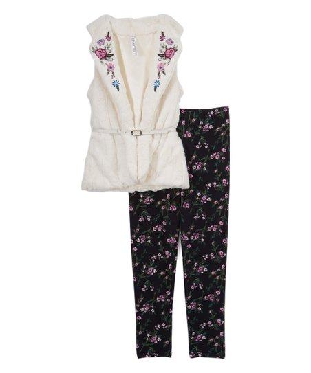 7fa6546e29d13 love this product Natural & Black Floral Vest & Leggings - Girls