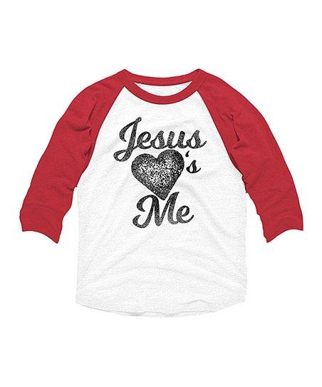 95603e6c7 love this product White & Red 'Jesus Hearts Me' Raglan - Kids
