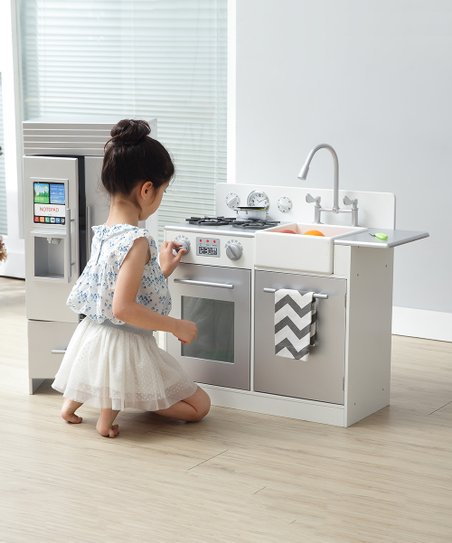 Silver Little Chef Contemporary Modern Play Kitchen Set Zulily
