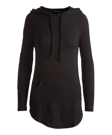 7a235e26728 POPULAR BASICS Black Hooded Tunic - Women | Zulily