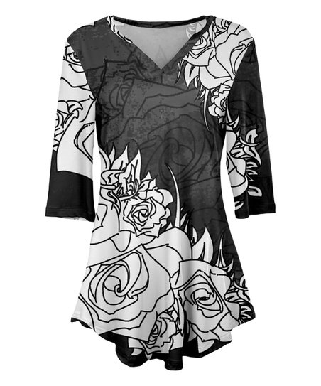 Simply Aster Black White Abstract Rose V Neck Tunic