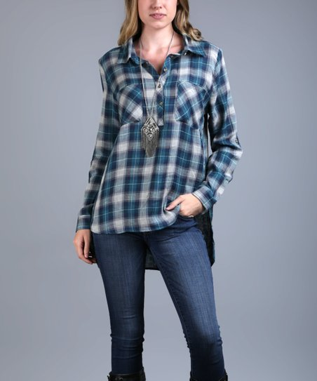 a7f2431cd73 love this product Blue Plaid Long-Sleeve Button-Front Tunic - Women