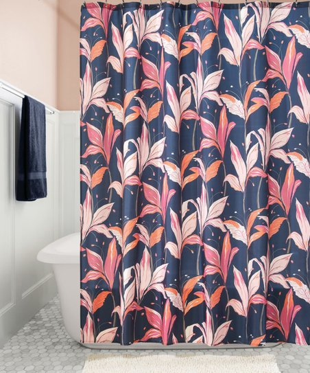 Love This Product Navy Blue Red Lily Blossom Shower Curtain