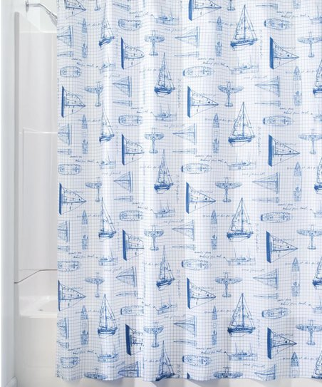 White Navy Sailboat Shower Curtain