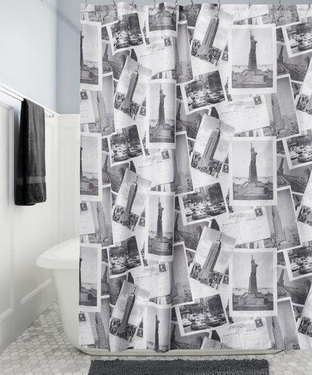 Gray White NYC Shower Curtain