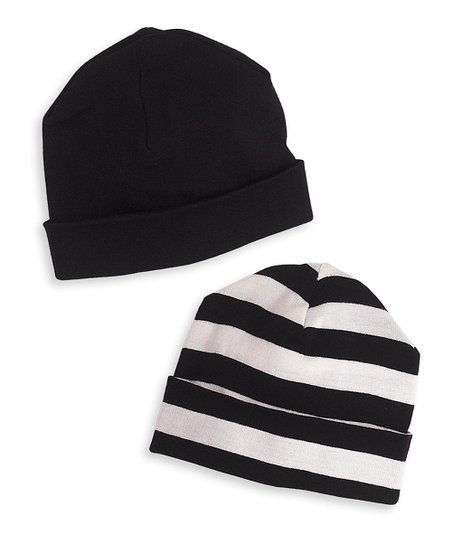 b693d964cd3 love this product Black   Ivory Stripe Beanie Set - Newborn   Infant