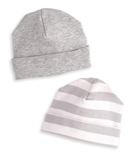 d59f945bbf8 love this product Heather Gray   Ivory Stripe Beanie Set - Newborn   Infant