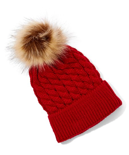 love this product Red Knit Faux-Fur Pom-Pom Beanie - Newborn 8057d43be9a