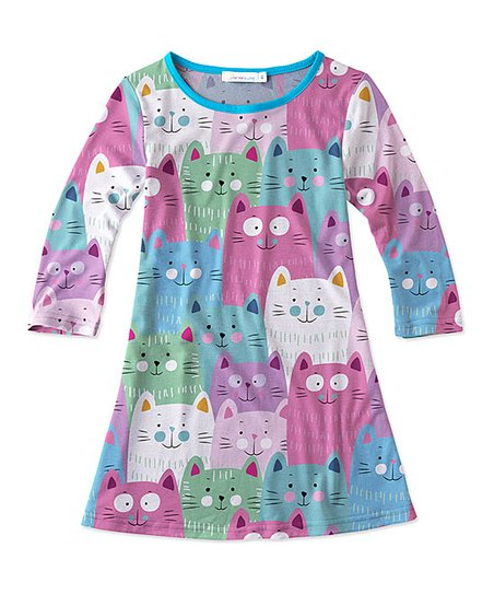 3674698456d7 Sunshine Swing Blue   Purple Cat Shift Dress - Girls