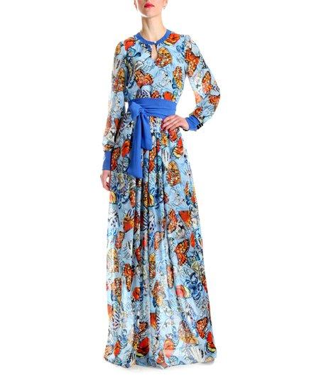 Andrea Crocetta Blue   Orange Butterfly Maxi Dress - Women  2f8ade0fd0