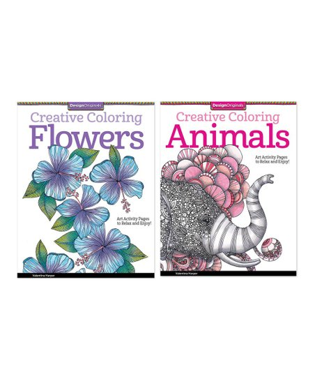 Fox Chapel Publishing Creative Coloring Animals Flowers Coloring Book Set