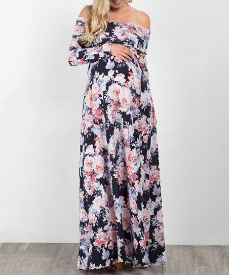 add79c8a3bc love this product PinkBlush Navy Blue Floral Off-Shoulder Maternity Maxi  Dress