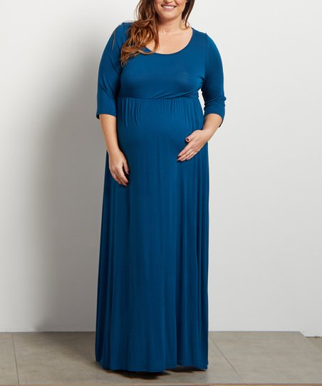 b1e61188179c1 love this product Teal Three Quarter-Sleeve Maternity Maxi Dress - Plus