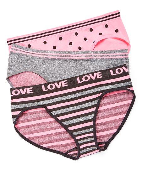 4587a1dcd0797 Pink   Gray Stripe Love Seamless Bikini Set - Women