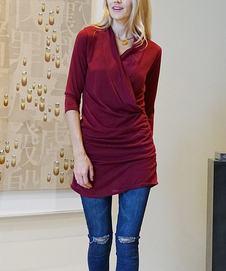 1d60413457b 42POPS Marsala Shirred Surplice Tunic - Women