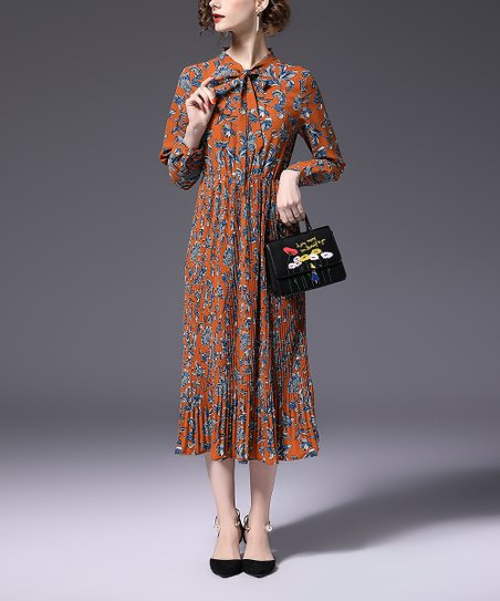 69a2481de Vicky and Lucas Orange Floral Pleated Midi Dress - Women | Zulily