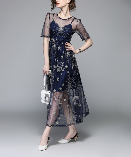 9d9582a0375a love this product Navy & Silver Star Embroidered Mesh-Layer A-Line Dress -  Women