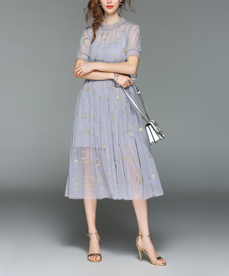 ecd0714fd47f love this product Gray & Gold Star & Moon Embroidered Fit & Flare Dress -  Women