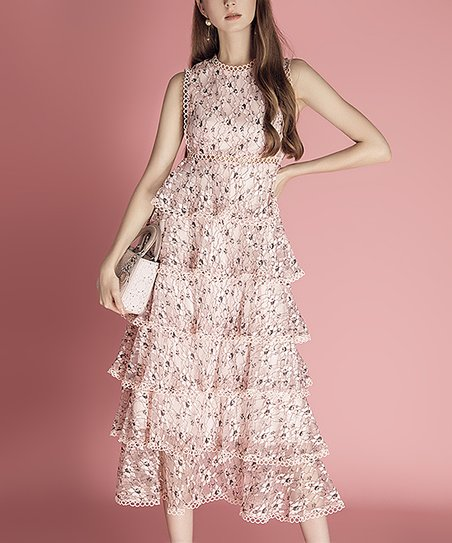 890b0f202ff love this product Pink Tiered V-Neck Tiered Fit & Flare Maxi Dress - Women