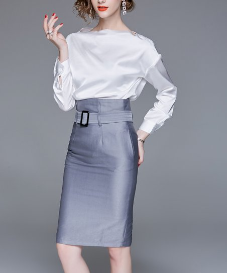 26ceb6038 love this product White Satin Boatneck Top & Silver Belted Pencil Skirt -  Women