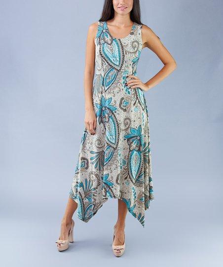 1a9b495e love this product Teal & Cream Paisley Handkerchief Maxi Dress - Women