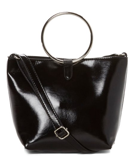 Black Patent Ring Handle Crossbody Bag