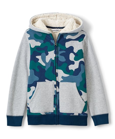 d1206b636 love this product Gray Heather Camo Sherpa-Lined Hoodie - Toddler & Boys