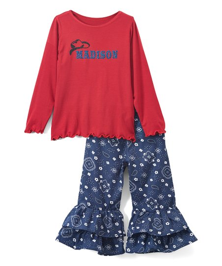 85ba0fae2 love this product Red & Navy Personalized Tee & Ruffle Pants - Toddler &  Girls