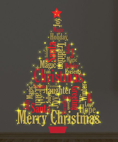 Dark Christmas.Walplus Magic Glow In Dark Merry Christmas Tree Wall Decal Set