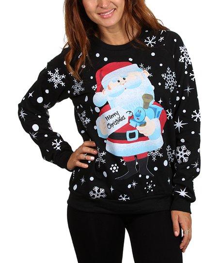 Black Merry Christmas Santa Crewneck Sweatshirt Juniors Zulily