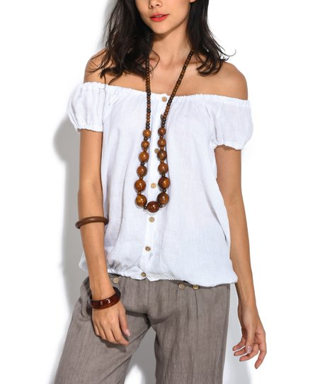 3284dfe6e2328 love this product White Off-Shoulder Linen Top - Women
