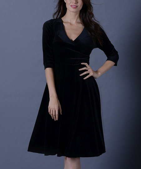 60c988b7a5 Lbisse Black Velvet Surplice Fit   Flare Dress - Women   Plus