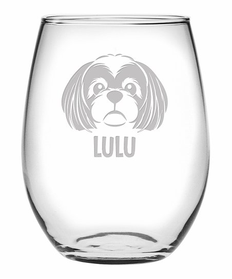 6d3d89afbdd love this product Personalized Dog Face Stemless Wine Glass & Gift Box