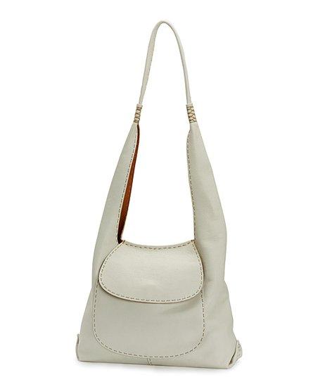 63b4b7209b love this product White Naomi Pick-Stitch Leather Hobo