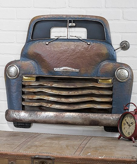 Blue Brown Truck Metal Wall Art