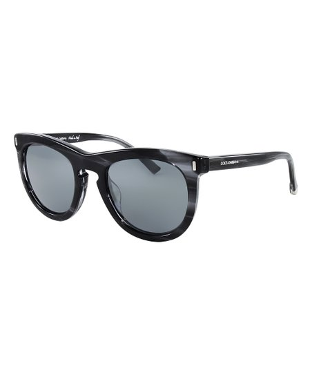77a861536a4a Dolce & Gabbana Gray & Anthracite Stripe Mirror Sunglasses | Zulily