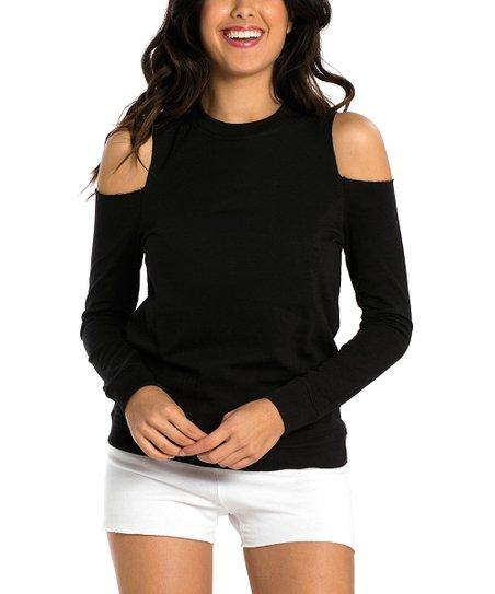 655a092e6dc05 Miami Style Black Cold Shoulder Sweatshirt - Women